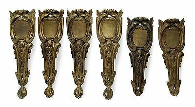 Set of Six Gold Bronze Furniture Leg Accent Appliques