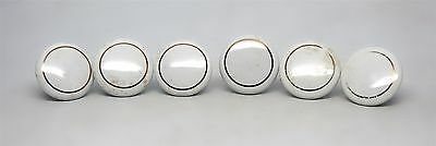 Set of White Porcelain Drawer Knobs with Gold Circle