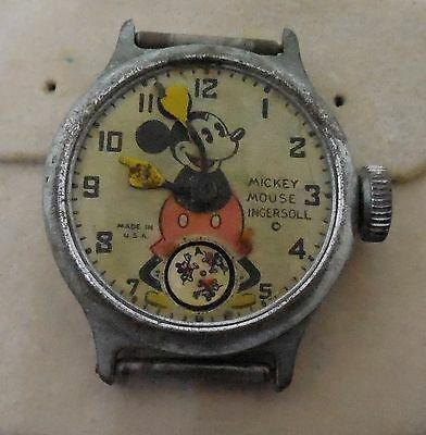 Vintage 1930s Mickey Mouse Wristwatch Ingersoll For Parts or Repair