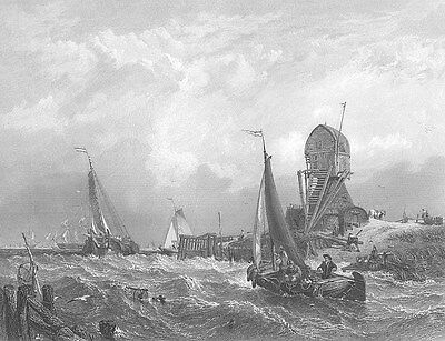Netherlands, HOLLAND SEASCAPE SAILBOATS SHIPS in STORM, 1849 Art Print Engraving