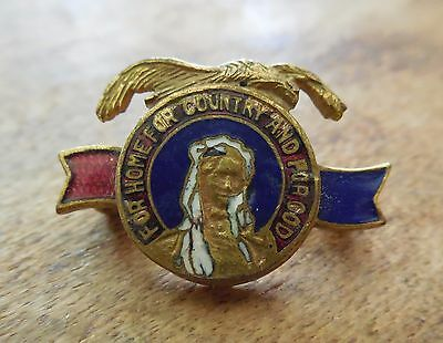 Older Vintage Enamel For Home Or Country And For God Pin - C Clasp