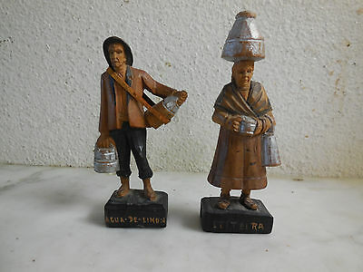 Vtg Spanish 1930's Wood Carvings Water Carriers LEITEIRA & AQUA DE LIMON Spain