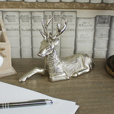 Silver metal sitting stag reindeer deer ornament resting display animal gift