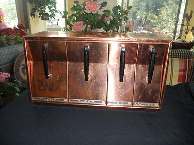 Mid-Century Lincoln BeautyWare Copper Kitchen Counter~Wall Mount Metal Canisters