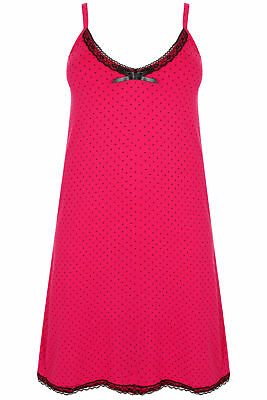 Yoursclothing Plus Size Womens Hot & Black Spotted Chemise With Lace Trim