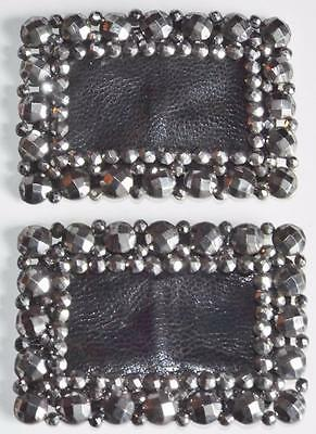 Pair of Antique Victorian Cut Steel Marcasite Shoe Buckles c1870