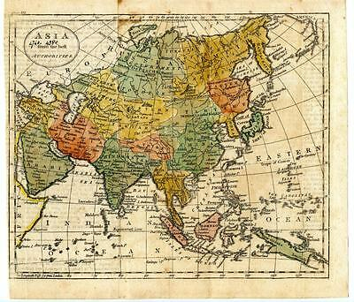 """1700s Copper Engraving Hand Colored Map Asia China Russia Tibet 9.5"""" x 8.5"""""""