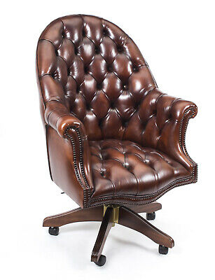 Bespoke English Hand Made Leather Directors Desk Chair BBO