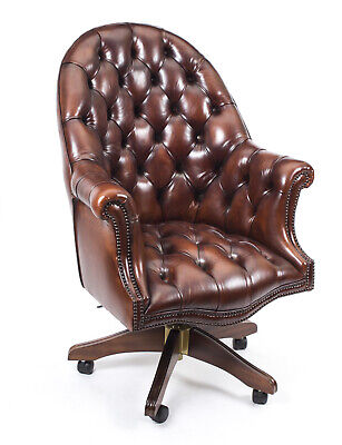 English Hand Made Leather Directors Desk Chair BBO