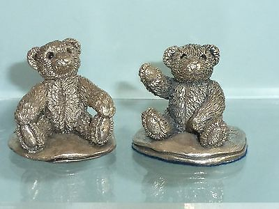 Country Artist Silver Hallmarked pair of seated Teddy Bear Figures c1994