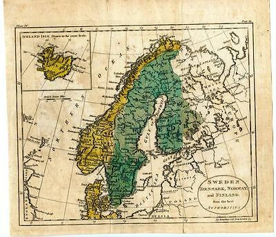 "1700s Copper Engraving Hand Colored Map Sweden Denmark Norway Finland 9.5""x8.5"""