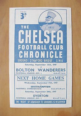 CHELSEA v BOLTON WANDERERS 1947/1948 *Excellent Condition Football Programme*