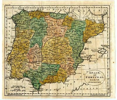 "1700s Copper Engraving Hand Colored Map Spain Portugal France 9.5"" x 8.5"""