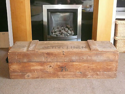 Vintage Large Wooden Storage Wood Trunk Chest Coffee Table Blanket Box Toy Box