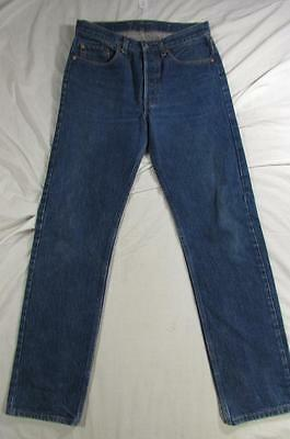Vtg 80s Levi 501 USA Made Button Fly Dark Denim Transition Jean Measure 32x33.5