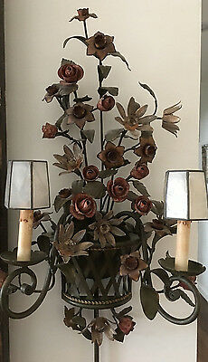 Large Pair Currey & Co TOLE Metal Wall Sconce Electric