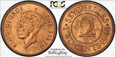 Seychelles 2 Cents 1948 MS65 RB PCGS bronze KM#6 FINEST & ONLY