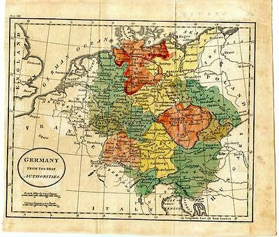 1700s Copper Engraving Hand Colored Map Germany Prussia Poland Hungary Italy