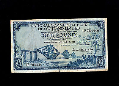 Scotland Uk 1959 National Commercial Bank One Pound £1 Banknote Good Condition