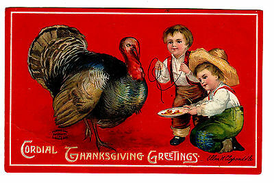 1909 Signed Clapsaddle Thanksgiving Postcard Garre Co Two  Boys Feed Turkey