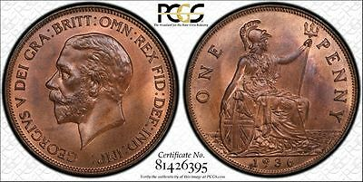 Great Britain 1d Penny 1936 MS65 RB PCGS KM#838 George V 2ND FINEST POP 4/1