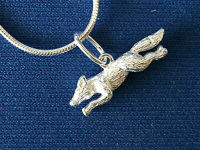 Fox  Running Small Sterling Silver   Pendant .925 And Snake Chain