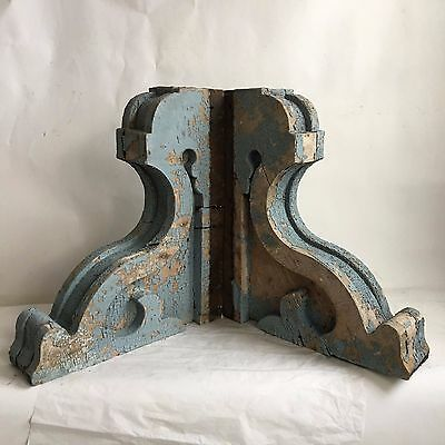 "17.5"" Antique Pair(2) 1890's Wood Corbels Brackets Gingerbread Victorian Blue D"