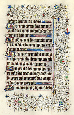 LOVELY ILLUMINATED MANUSCRIPT BOOK OF HOURS LEAF c.1420 GOLD INITIALS, BORDERS!