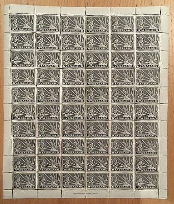 Nyasaland.  1938. SG132a. 1/2d grey. Complete sheet x 60 values. Unmounted mint.