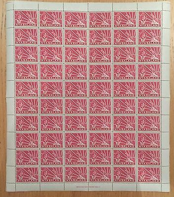 Nyasaland. 1938. SG133a. 2d carmine. Complete sheet x 60 values. Unmounted mint.