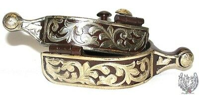 Western Ball End Spurs - Brown Iron and Silver Floral - Mens or Womens