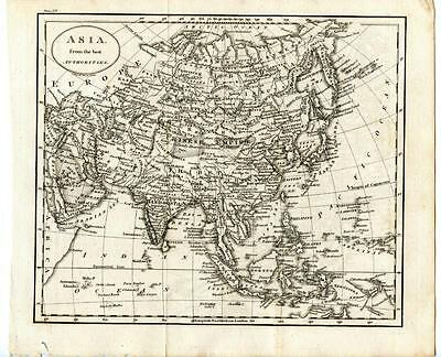 1700s Copper Engraving Map Asia China Tibet Hindoostan India Siberia J. Russell