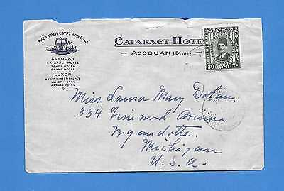 """Egypt Cacelled """"Cataract Hotel Aswan"""" to US 1932 Advertising Cover to US"""