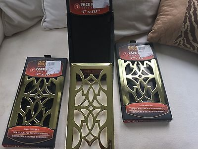 Lot of 3 Grate Accent Gold  Face Plate Floor Register  4x10