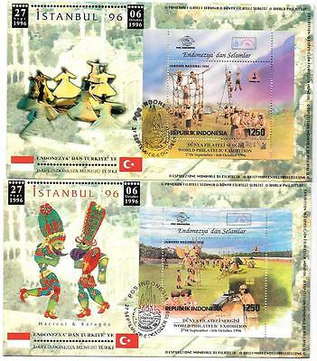 INDONESIA 1996 HAM RADIO Girl Scout Boy Scout EMBOSSED 2 Stamp Show FDCs