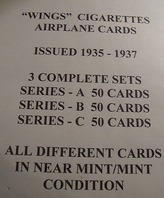 Wings Cigarettes 3 Complete Sets Series A,B,&C 50 Cards Each Near mint to Mint