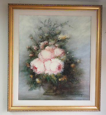 Beautiful Framed Floral Still Life Signed by Naick Gilgert Signed Oil Painting