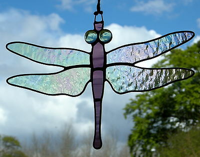 Stained Glass Ornament (Dragonfly) Iridescent Wings, two purple body, green eyes