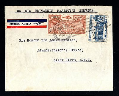 14087-REPUBLICA DOMINICANA-AIRMAIL COVER TRUJILLO to ST.KITTS.1941.WWII.Majestys
