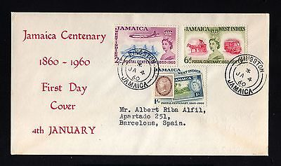 14134-JAMAICA-FIRST DAY COVER KINGSTON to BARCELONA (spain)1960.BRITISH.fdc.