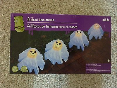 4 Ghost Lawn Stakes Halloween Decor
