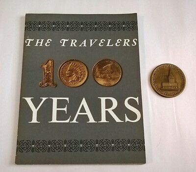 1864-1964 THE TRAVELERS 100 YEARS Book w/BRONZE MEDALLION