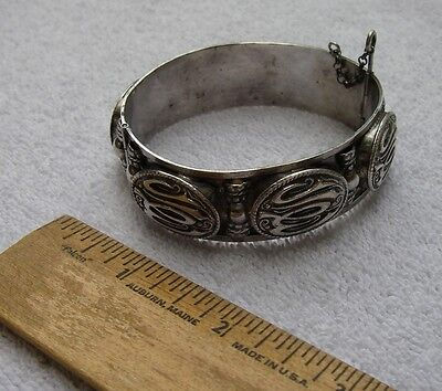 Nice NORTH AFRICAN French Made ARABIC 800 SILVER BRACELET-Hinged Cuff