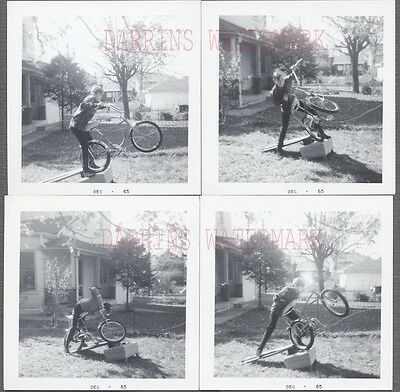 Series of 4 Vintage Photos Bicycle Stunt Boy w/ Banana Seat Bike 721923