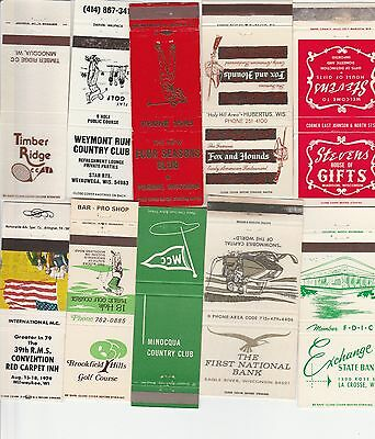 Lot Of 18 Different Wisconsin Matchbook Covers.  #3