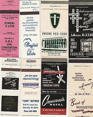 Lot Of 18 Different Wisconsin Matchbook Covers.  #1