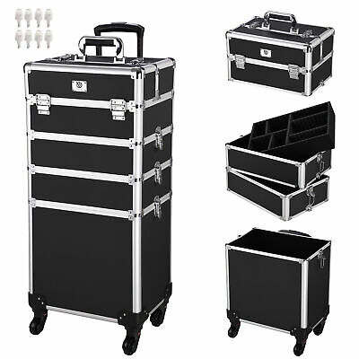 4in1 Interchangeable Aluminum Rolling Makeup Case Cosmetic Wheeled