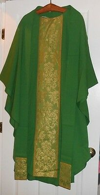 Stunning Catholic Priests Green & Gold Orphrey Chasuble & Stole C.m. Almy