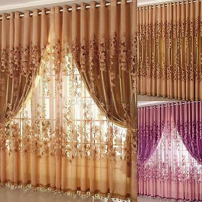 New Home Valances Floral Tulle Voile Door Window Curtain Drape Panel Sheer Scarf