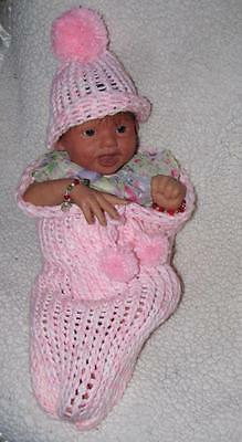 Reborn newborn baby doll hand made baby pink & white cocoon swaddle hat set prop